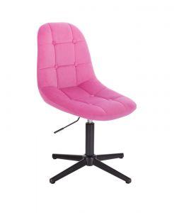 Židle SAMSON VELUR na černém kříži - růžová