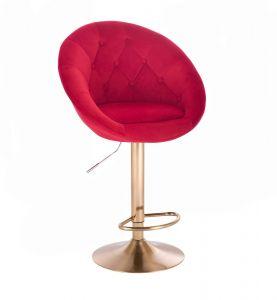 Barová židle VERA VELUR na zlatém talíři - červená