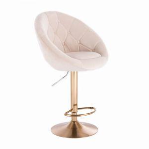 Barová židle VERA VELUR na zlatém talíři - krémová