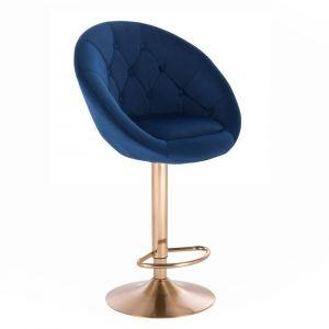 Barová židle VERA VELUR na zlatém talíři - modrá