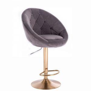 Barová židle VERA VELUR na zlatém talíři - tmavě šedá