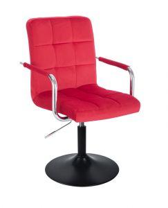 Kosmetická židle VERONA VELUR na černém talíři - červená