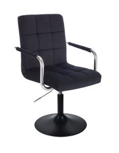 Kosmetická židle VERONA VELUR na černém talíři - černá