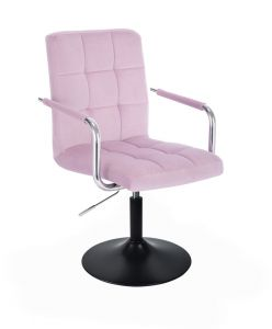 Kosmetická židle VERONA VELUR na černém talíři - fialový vřes