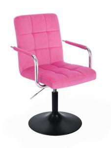 Kosmetická židle VERONA VELUR na černém talíři - růžová