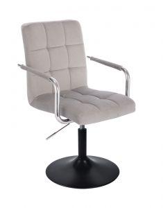 Kosmetická židle VERONA VELUR na černém talíři - světle šedá