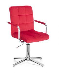 Kosmetická židle VERONA VELUR na stříbrném kříži - červená