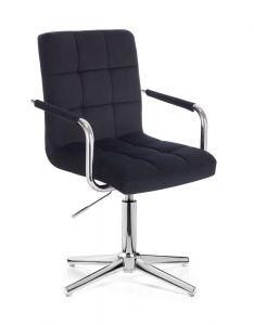 Kosmetická židle VERONA VELUR na stříbrném kříži - černá