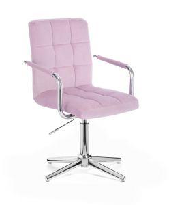 Kosmetická židle VERONA VELUR na stříbrném kříži - fialový vřes