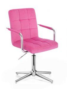 Kosmetická židle VERONA VELUR na stříbrném kříži - růžová