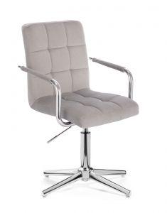 Kosmetická židle VERONA VELUR na stříbrném kříži - světle šedá
