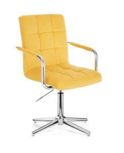 Kosmetická židle VERONA VELUR na stříbrném kříži - žlutá