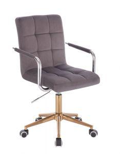 Kosmetická židle VERONA VELUR na zlaté podstavě s kolečky - tmavě šedá