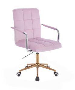 Kosmetická židle VERONA VELUR na zlaté podstavě s kolečky - fialový vřes