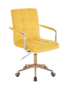 Kosmetická židle VERONA VELUR na zlaté podstavě s kolečky - žlutá