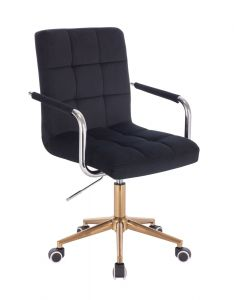 Kosmetická židle VERONA VELUR na zlaté podstavě s kolečky - černá