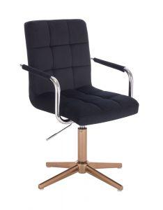 Kosmetická židle VERONA VELUR na zlatém kříži - černá