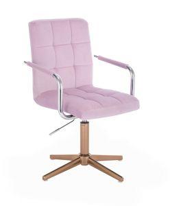 Kosmetická židle VERONA VELUR na zlatém kříži - fialový vřes