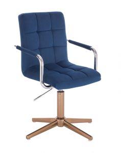 Kosmetická židle VERONA VELUR na zlatém kříži - modrá