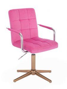 Kosmetická židle VERONA VELUR na zlatém kříži - růžová