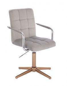 Kosmetická židle VERONA VELUR na zlatém kříži - světle šedá