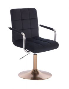 Kosmetická židle VERONA VELUR na zlatém talíři - černá