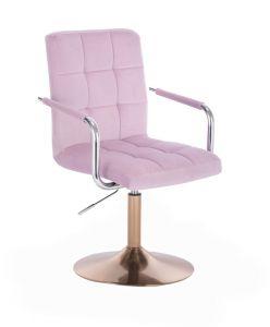 Kosmetická židle VERONA VELUR na zlatém talíři - fialový vřes