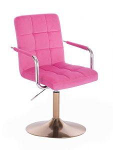 Kosmetická židle VERONA VELUR na zlatém talíři - růžová