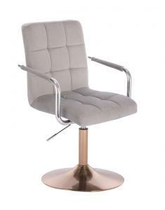 Kosmetická židle VERONA VELUR na zlatém talíři - světle šedá