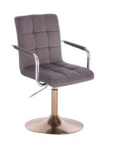 Kosmetická židle VERONA VELUR na zlatém talíři - tmavě šedá
