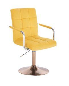 Kosmetická židle VERONA VELUR na zlatém talíři - žlutá