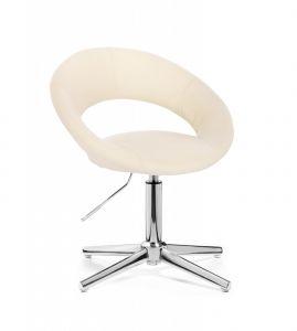 Židle NAPOLI na stříbrném kříži - krémová