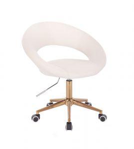 Židle NAPOLI na zlaté podstavě s kolečky - bílá