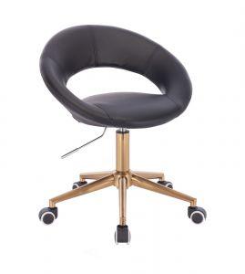Židle NAPOLI na zlaté podstavě s kolečky - černá