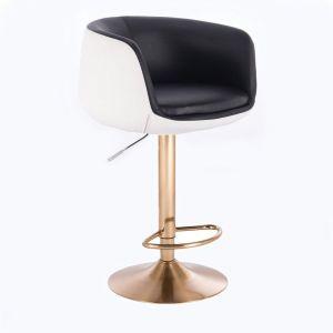 Barová židle MONTANA na zlatém talíři - bílo-černá