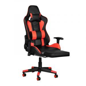 Herní židle Premium 557 s opěrkou nohou - červeno-černá