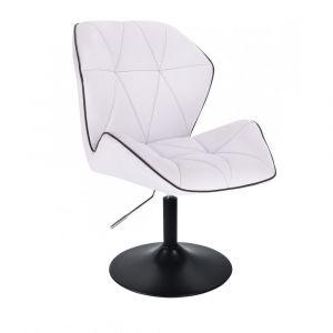 Kosmetická židle MILANO MAX na černém talíři - bílá