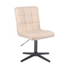 Kosmetická židle TOLEDO na černém kříži - krémová