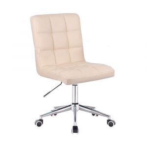 Kosmetická židle TOLEDO na stříbrné podstavě s kolečky - krémová