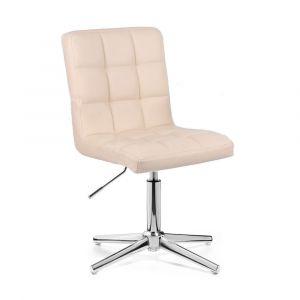 Kosmetická židle TOLEDO na stříbrném kříži - krémová