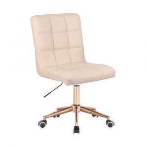 Kosmetická židle TOLEDO na zlaté podstavě s kolečky - krémová