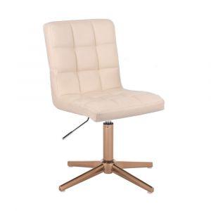 Kosmetická židle TOLEDO na zlatém kříži - krémová