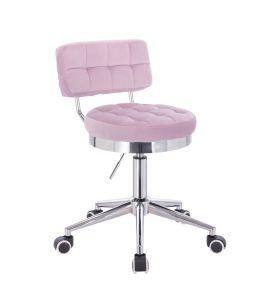 Kosmetická židle VIGO VELUR na stříbrné základně s kolečky - fialový vřes