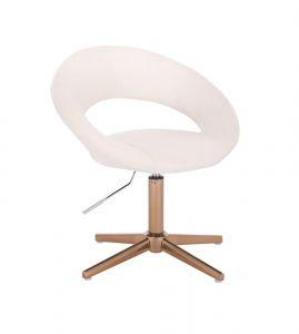 Židle NAPOLI na zlatém kříži - bílá
