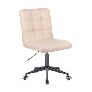 Židle TOLEDO na černé podstavě s kolečky - krémová
