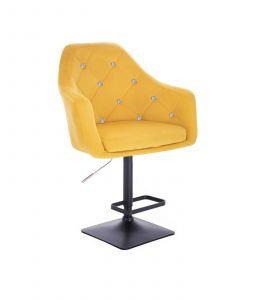 Barová židle ROMA VELUR na černé podstavě - žlutá