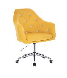 Křeslo ROMA VELUR na stříbrné podstavě s kolečky - žluté