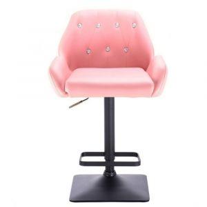 Barová židle LION na černé základně - růžová