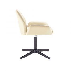 Kosmetická židle LION na černém kříži - krémová