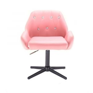 Kosmetická židle LION na černém kříži - růžová